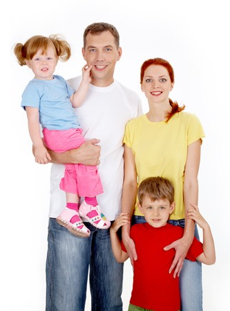Portrait of a happy smiling family  Stock Photo - 6894342
