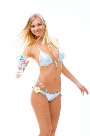 blonde bikini: Image of luxurious woman in bikini holding cocktail Stock Photo