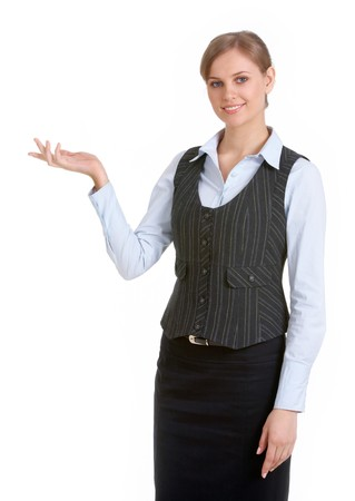 Portrait of elegant businesswoman with open palm on white background Stock Photo - 6894762