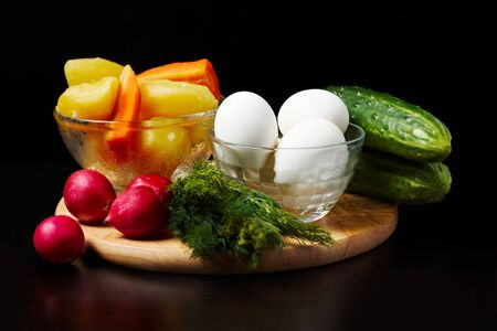 Image of several kinds of raw and boiled vegetables and eggs Stock Photo - 6981329