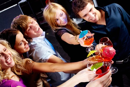 Above angle of group of friends enjoying themselves at party Stock Photo - 6963075
