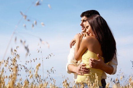 Portrait of girlfriend and boyfriend hugging each other  Stock Photo - 7020614
