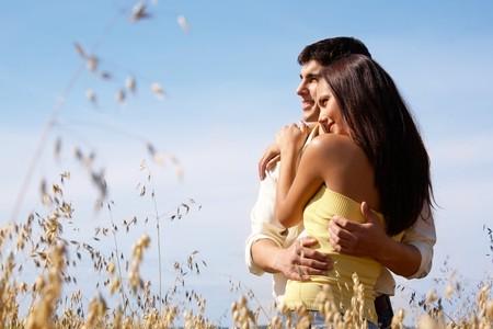 closeness: Portrait of girlfriend and boyfriend hugging each other