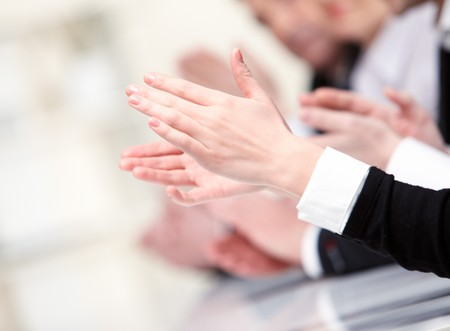 applause: Photo of businesswoman's hands applauding at meeting Stock Photo