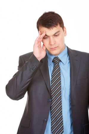 Portrait of smart man touching his forehead with tired expression Stock Photo - 7059897