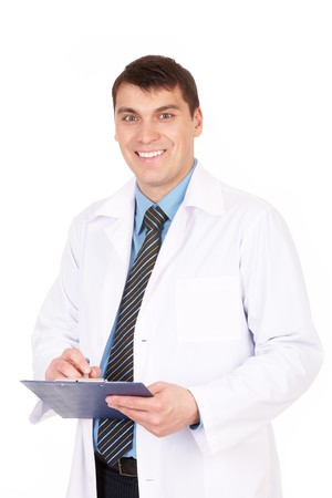 Portrait of confident doctor with clipboard in hands looking at camera photo