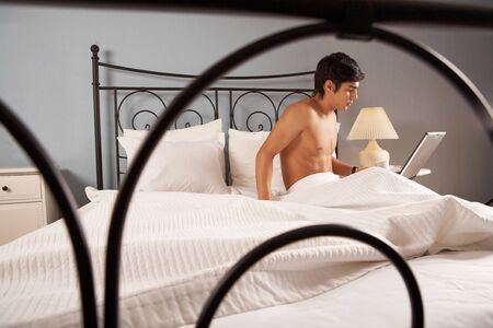Image of man sitting on big bed and working with laptop Stock Photo - 7088692