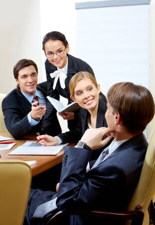 Photo of business group having hot discussion during seminar Stock Photo - 7126076