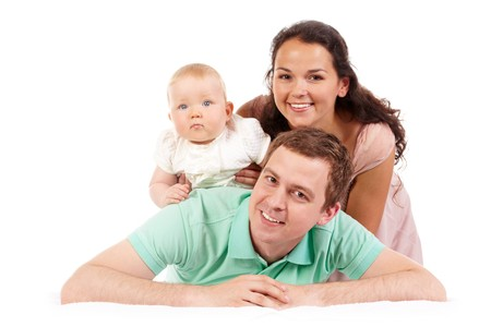 Portrait of happy family looking at camera in isolation photo