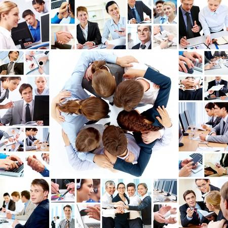 telecomm: Collage de equipos de negocio trabajando juntos, los conceptos de tecnolog�a y la Asociaci�n