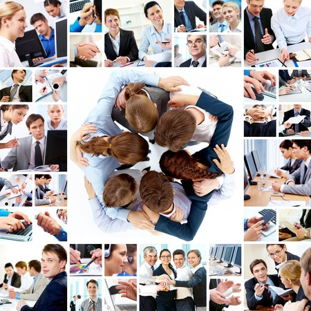 Collage of business teams working together, technology and partnership concepts photo