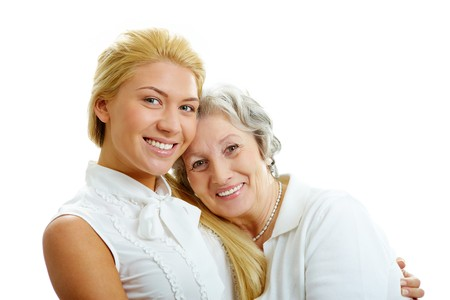 Portrait of attractive girl and senior woman embracing each other Stock Photo - 7217940