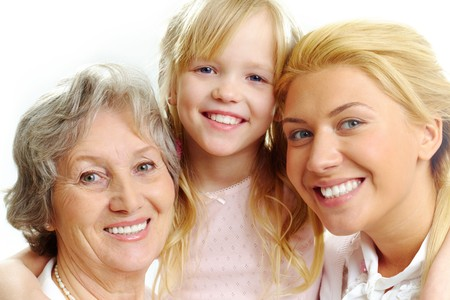 Photo of little girl with her grandmother and mother  photo