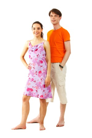 Portrait of happy girl with handsome man near by on white background photo