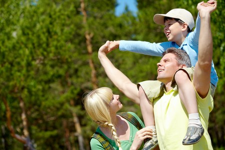 Portrait of happy family spending great time in the country  Stock Photo - 7355484