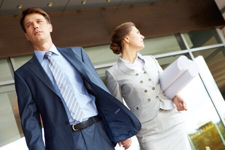 Portrait of business partners going for work outside photo