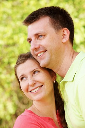 Portrait of cheerful couple on summer vacation photo