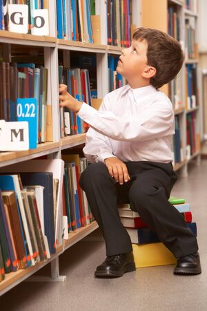 diligent: Portrait of diligent schoolboy looking at bookshelf in the library Stock Photo