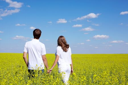 amorous: Back view of amorous couple walking in yellow meadow at summer