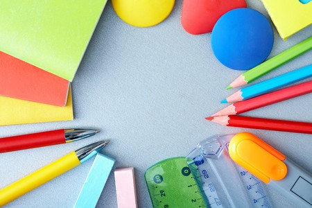 red pen: Close-up of various objects needed in school education process Stock Photo