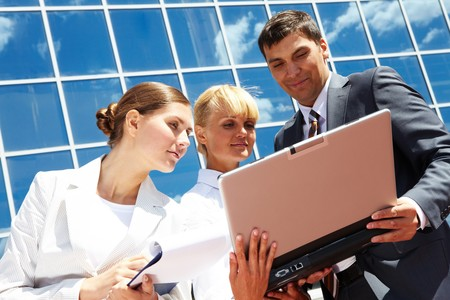 Photo of successful business partners planning work outside Stock Photo - 7409344
