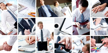 technology collage: Collage of business teams, technology and partnership concepts Stock Photo