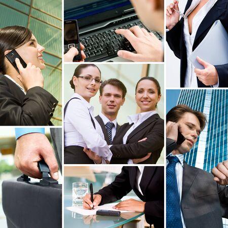 collage caras: Collage con equipo de negocio, llamando a la gente y otros objetos