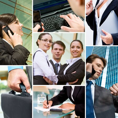 technology collage: Collage with business team, calling people and other objects