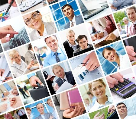 collage caras: Collage con empresarios y objetos en diferentes situaciones