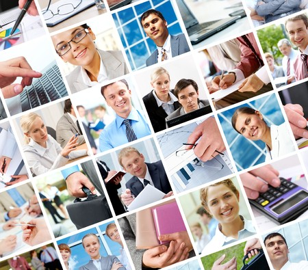 Collage with businesspeople and objects in different situations Stock Photo - 7462529
