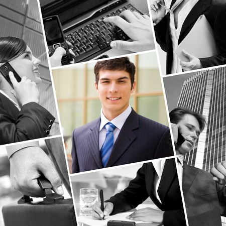 Collage with businessman, calling people and other objects photo