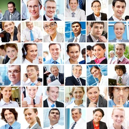 collage caras: Collage con empresarios en diferentes situaciones  Foto de archivo