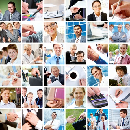 Collage with businesspeople and objects in different situations photo