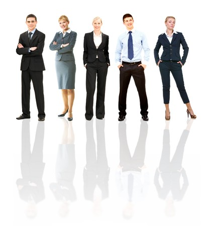 ceo: Collage of several business people posing before camera Stock Photo