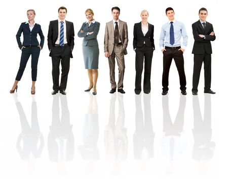 standing in line: Collage of several business people in different poses Stock Photo