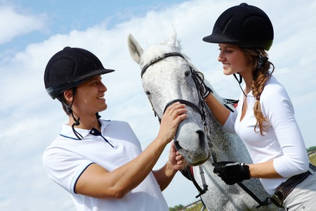 mujer en caballo: Imagen de la feliz pareja con caballo de pura raza mirando mutuamente