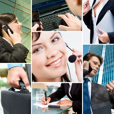 Collage with business people, telecommunication and other objects photo