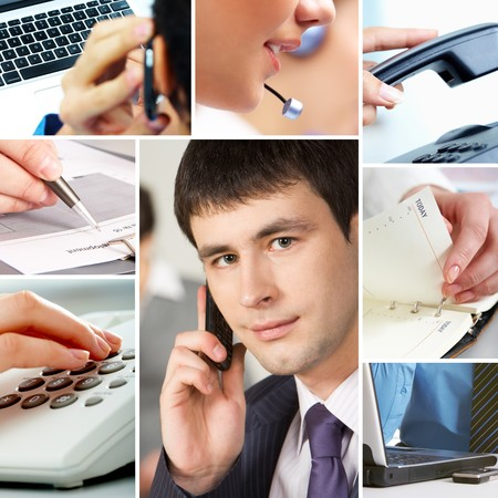 Collage with business people, telecommunication and other office objects photo