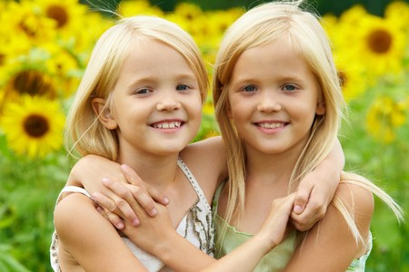 twin sister: Portrait of cute twins embracing each other on background of sunflower field Stock Photo
