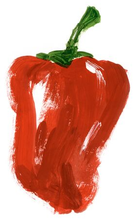 Painting of big red pepper over white background photo