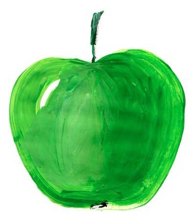 Painting of big green apple over white background photo