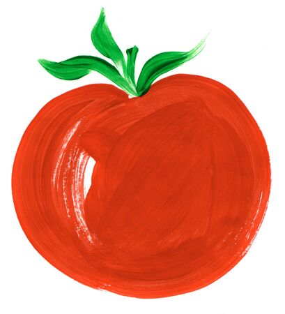 Painting of big red tomato over white background photo
