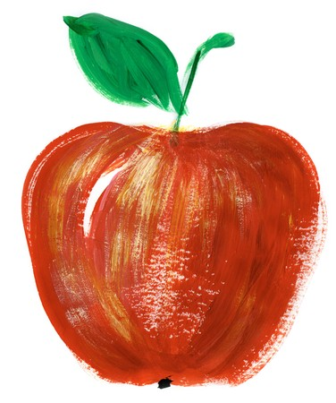apple isolated: Painting of big red apple over white background Stock Photo