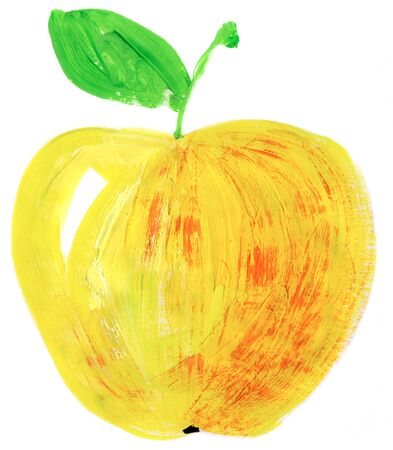 Painting of big red apple over white background photo