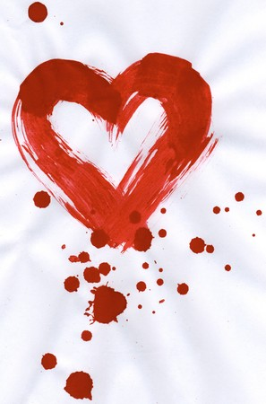 Illustration of red heart with splashing of paint around and inside it illustration