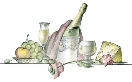 Peinture de table servie au restaurant sur fond blanc  Banque d'images