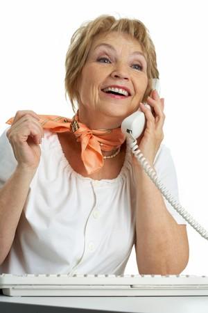 talkative: Portrait of senior female calling somebody on the phone