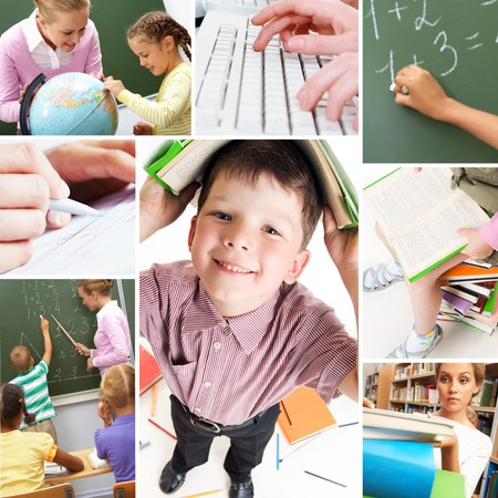Collage of schoolchildren and studying process moments photo