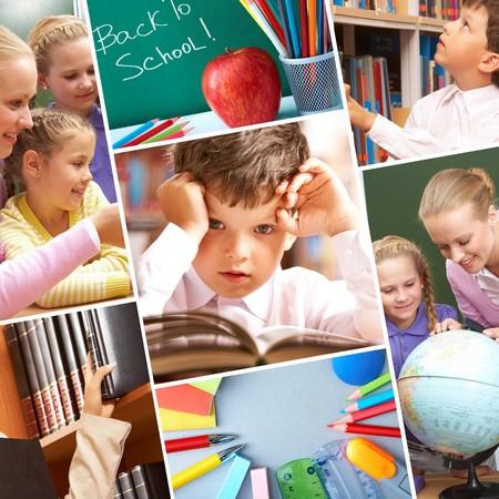 onderwijs: Collage van leerlingen in het bestuderen van proces- en onderwijs-objecten  Stockfoto