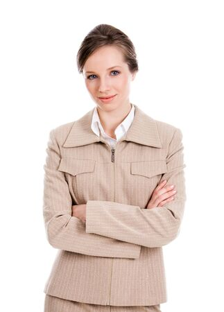 Portrait of businesswoman crossing arms and looking at camera with smile photo